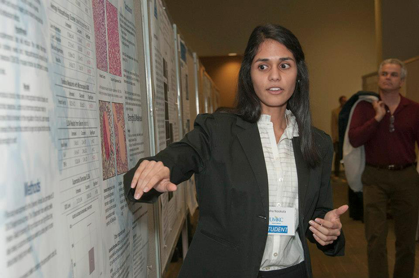 Asha Nookala, MS 4, was one of 23 School of Medicine students who presented posters at the 2013 Health Sciences Student Research Summit on April 4 at the UMKC Student Union.
