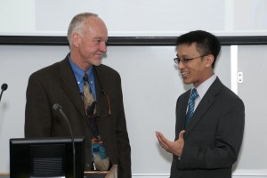 Stuart Munro, M.D., (left) catches up with Henry Lin, M.D., '06, the keynote speaker for the 2013 International Health Care Day on April 16 at the School of Medicine.