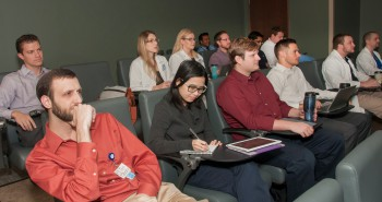 Residents attend 7:30am didactic session in the Scarpellino Hall