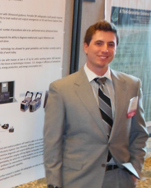 Resident David Learner presents his poster at the Aerospace Medical Association meeting.