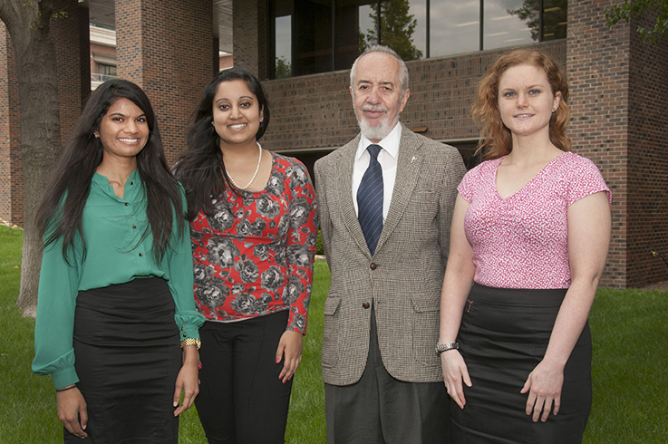 Sarah Morrison Student Research Award winners pictured with Agostino Molteni, M.D., Ph.D., director of student research, are Shreya Lankala, MS 4, Niharika Rath, MS 5, and Katherine Shortt, MS program.