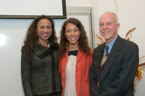 Denise Davis, M.D., '81, (left) stands with her daughter and Stuart Munro, M.D., chair of the Department of Medical Humanities and Social Sciences, after she delivered the Marjorie S. Sirridge, M.D., Outstanding Women in Medicine Lectureship on Sept. 19 at the School of Medicine.