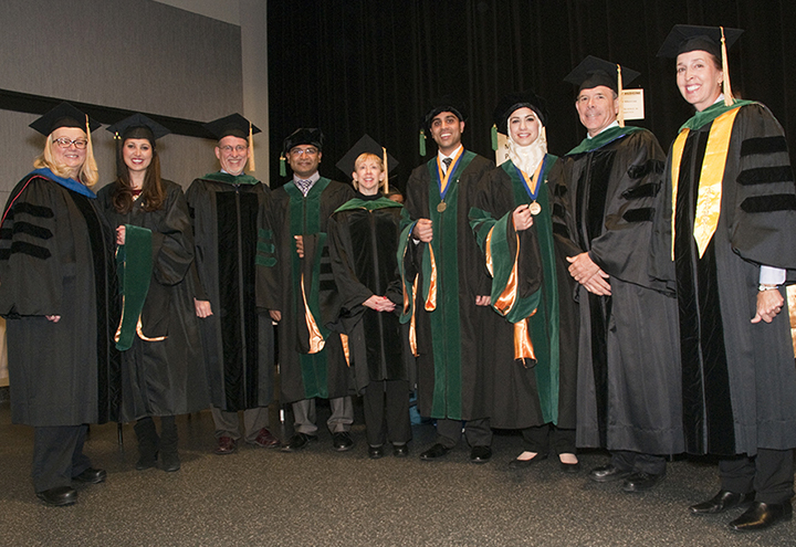 Mary Gerkovich, Ph.D., associate research professor; Stephanie Koch, MS Bioinformatics; Richard Butin, M.D., Gold 2 Docent; Anush John, M.D., '13; Carol Stanford, M.D., Gold 5 Docent; Adil Akthar, M.D., '13; Mariam Nawas, M.D., '13; Richard Lustig, M.D., Purple 1 Docent; and Beverly Graves, M.D., adjunct assistant professor of Allied Health. Not pictured: Nivedita Ranjan, M.S. Bioinformatics.