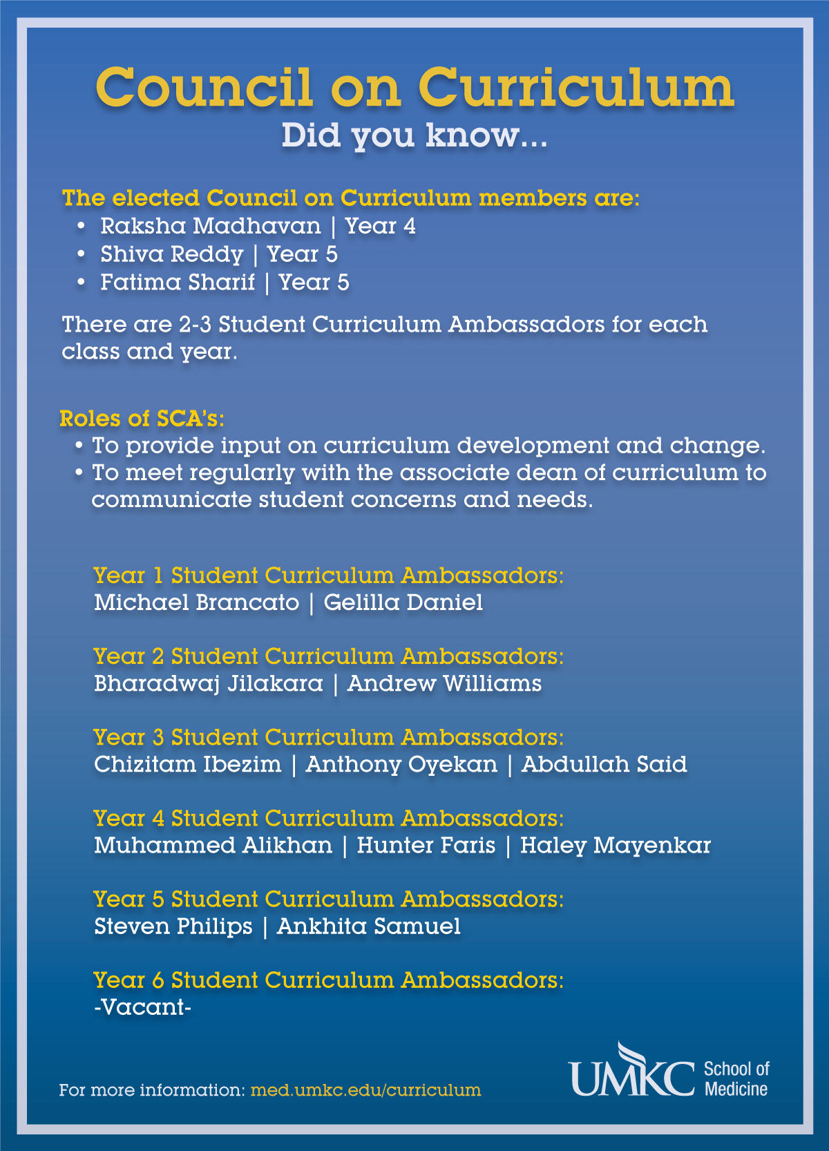 council on curriculum welcome umkc school of medicine