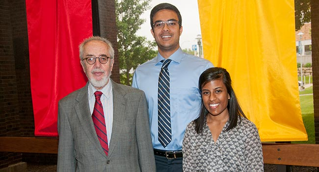 Recipients of the Sarah Morrison Student Research award for April 2015 pictured with Agostino Molteni, M.D., Ph.D., (left) Director of Student Research, are Gaurav Anand (center) and Dorothy Daniel (right).