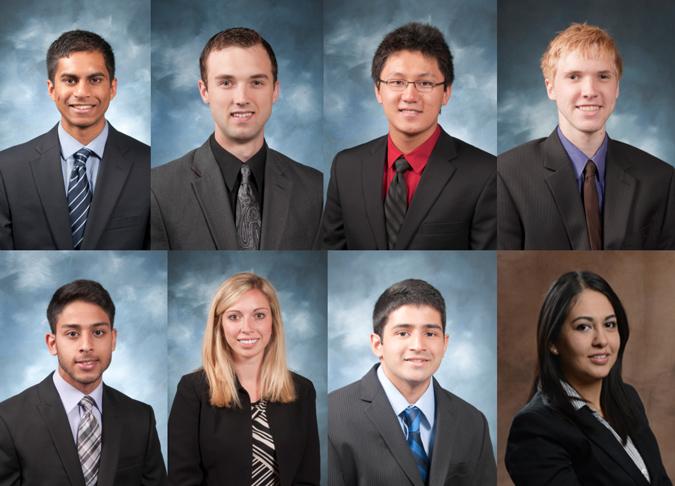 Recipients of the October 2016 Sarah Morrison student research awards are (top left to bottom right) Muhammed Alikhan, Hunter Faris, Luke He, Jacob Lee, Imran Nizamuddin, Carlee Oakley, Sai Vanam, and Ara Staab.
