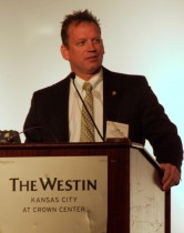 Todd Shaffer, M.D., MBA, F.A.A.F.P., addresses the crowd during his installment as president of the Association of Family Medicine Residency Directors on March 30 at The Westin Kansas City at Crown Center.