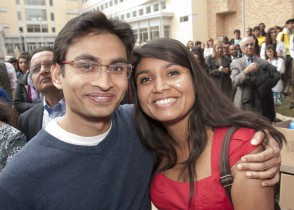 Rima Chakraborty, MS 6, (right) celebrates Match Day on March 21 with her husband, Neer Dutta, after she learned she will go to the University of Minnesota Medical School in Minneapolis, Minn., for her internal medicine residency.