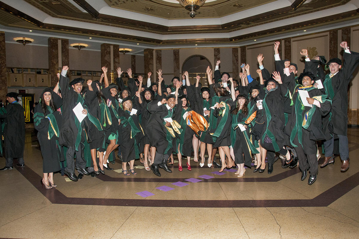 Members of the School of Medicine Class of 2014 celebrate just before the Commencement ceremony on May 22 at the Kansas City Music Hall.