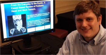 Dr. Holwerda makes an electronic presentation at the Society for Pediatric Radiology meeting in Washington, DC