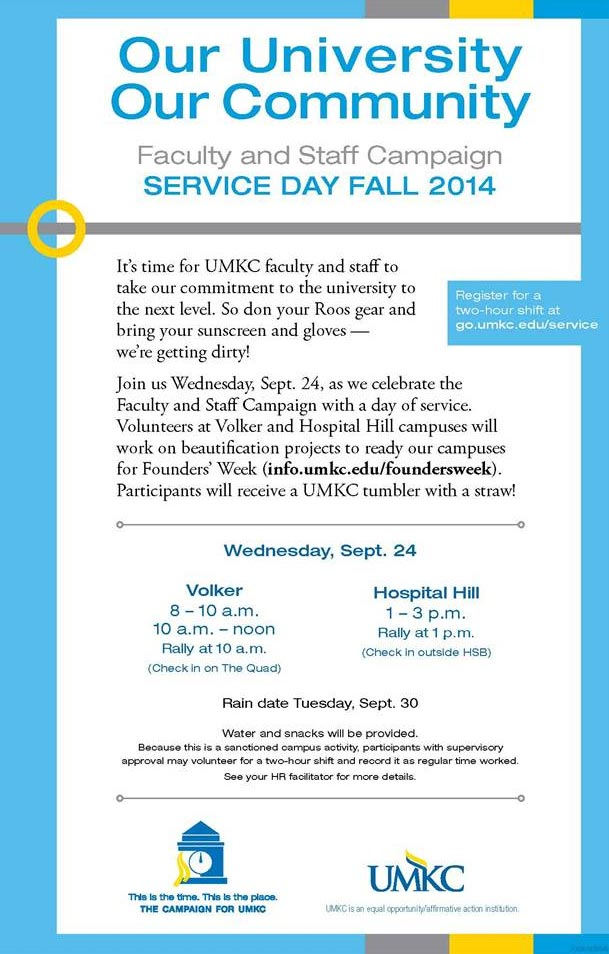 Service Day - Faculty & Staff Campaign @ See idetails below for time and locations