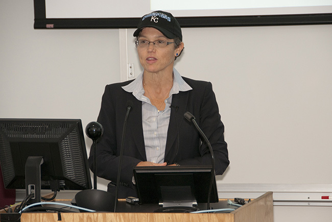 Katrina Armstrong, M.D., chief of medicine at Massachusetts General Hospital and a leader in breast cancer research, received and sported a Kansas City Royals American League championship ball cap during the 2014 Goodson Lectureship on Oct. 24.