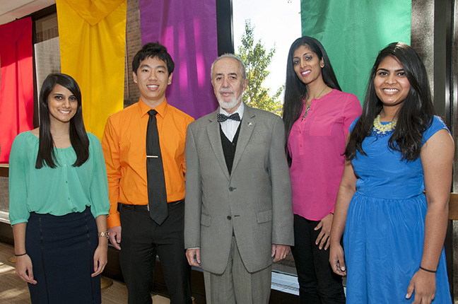 Recipients of the Sarah Morrison Student Research award for October 2014 pictured with Agostino Molteni, M.D., Ph.D., (middle) director of student research, are Halee Patel, MS 5, Bob Song, MS 4, Shilpa Babbar, MS Bioinformatics, and Siri Kommareddy, MS 4.