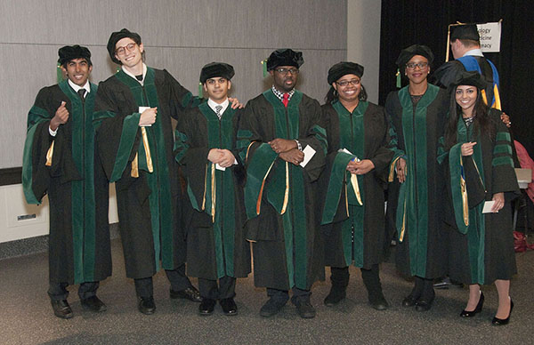 School of Medicine graduates were part of the UMKC Mid-Year Commencement Ceremony on Dec. 19 at Swinney Recreation Center. Rana Singh, Ehren Ekhouse, Eric Roychowdhury, Ryan Stokes, Gretchen Woodfork, Chiazotam Ekekezie, Vedica Sharma received their M.D. degrees. Greyson Twist, not pictured, received his Master of Science in Bioinformatics.