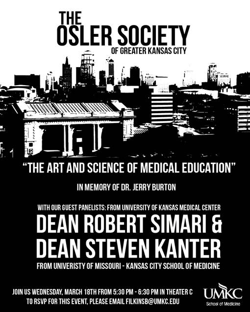 The Osler Society of Greater Kansas City @ UMKC School of Medicine, Theater C | Kansas City | Missouri | United States