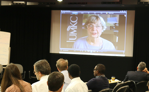Former associate dean Louise Arnold, Ph.D., accepted the Learning Communities Institutue's 2014 Ron Arky Award with a video acceptance speech.
