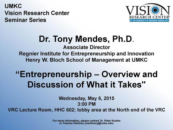 Vision Research Center Seminar Series @ VRC Lecture Room, HHC 602** | Kansas City | Missouri | United States