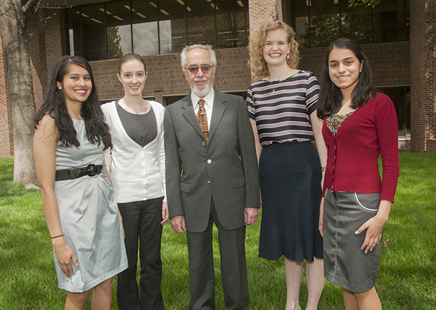 Four of the School of Medicine winners from the 2015 Health Sciences Student Research Summit with Agostino Molteni, M.D., Ph.D., director of student research, are Supriya Dasari, MS 4, Megan Litzau, MS 6, Kayla Briggs, MS 4, and Susamita Kesh, MS 4. Not pictured is Timothy Fendler, winner of the graduate student first place award.