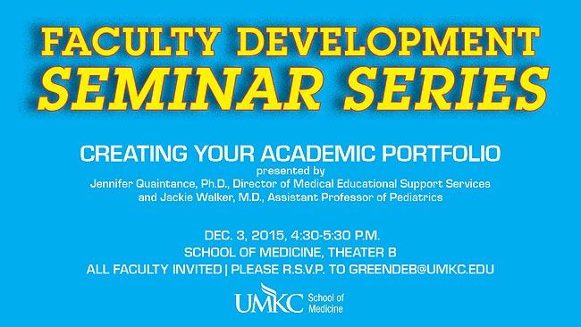 Faculty Development Seminar Series @ UMKC School of Medicine, Theater B | Kansas City | Missouri | United States