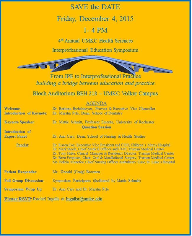 4th Annual UMKC Health Sciences IPE Symposium @ Bloch Auditorium BEH 218 - UMKC Volker Campus | Kansas City | Missouri | United States