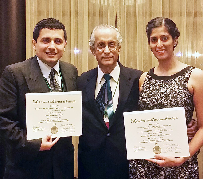 Gustavo Vilchez, M.D., (left) and Shilpa Babbar, M.D., (right) with Dev Maulik, M.D., chairman of obstetrics and gynecology and senior associate dean for women's health.