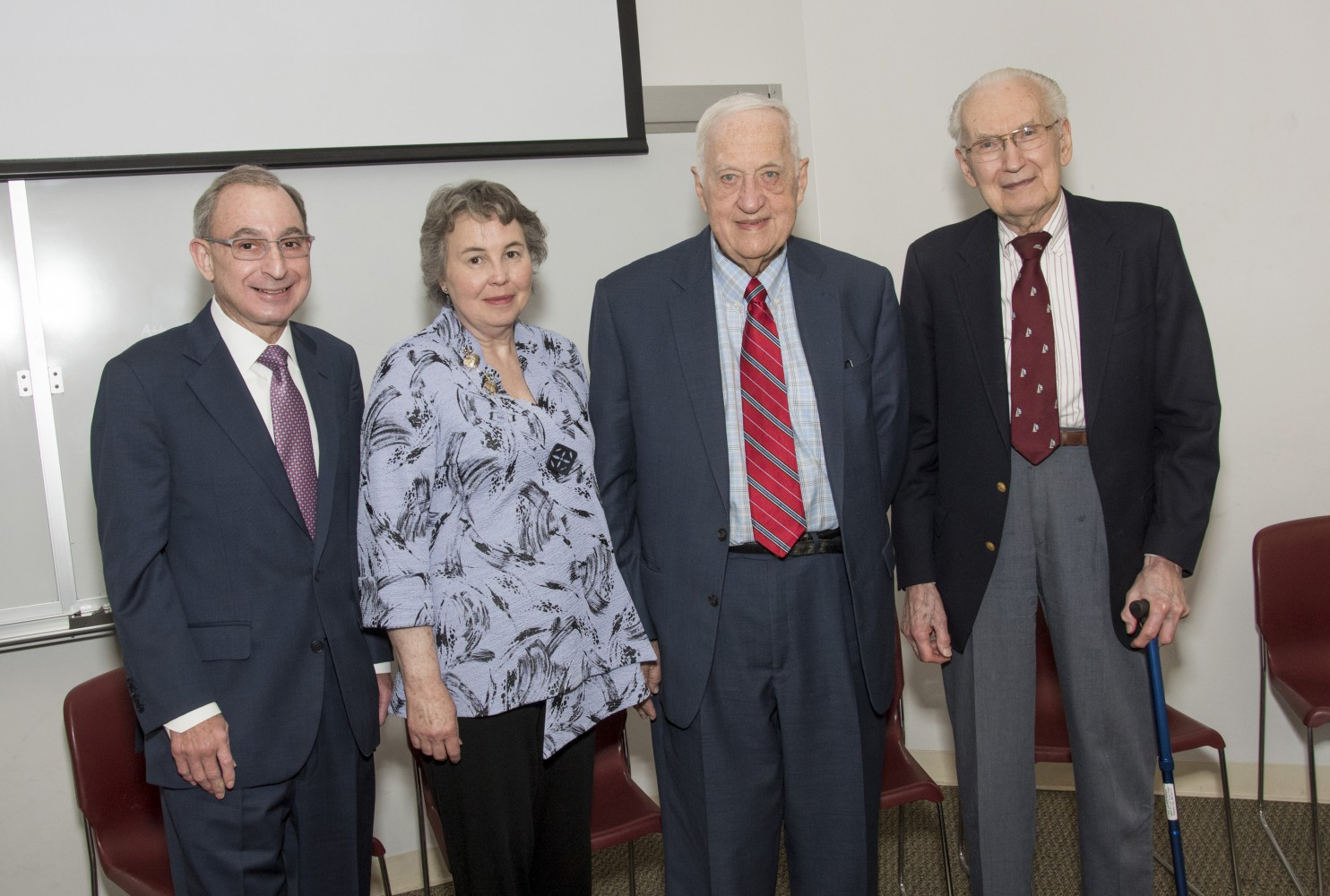 Dean Steven L. Kanter with former deans Betty Drees, M.D., Harry Jonas, M.D., and Richardson Noback, M.D., from left, at the Tradition of Leadership event.