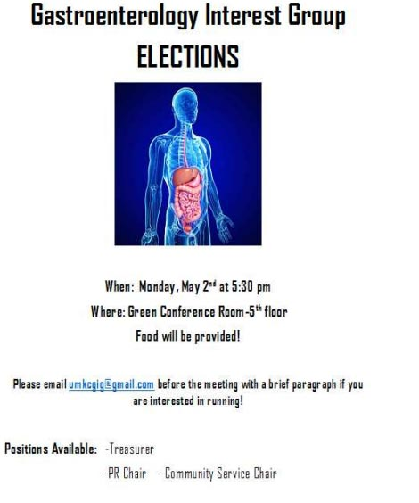 Gastroenterology Interest Group Elections @ UMKC-SOM, 5th Floor Green Conference Rm.
