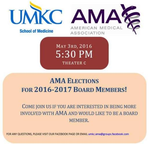 AMA Elections for 2016-17 Board Members @ UMKC-SOM, Theater C