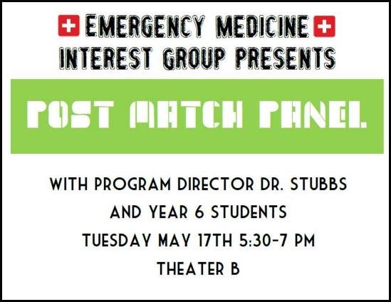 Emergency Medicine Interest Group - Post Match Panel @ UMKC-SOM, Theater B