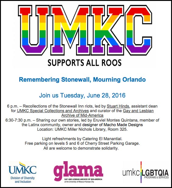 Remembering Stonewall, Mourning Orlando @ UMKC Miller Nichols Library, Room 325