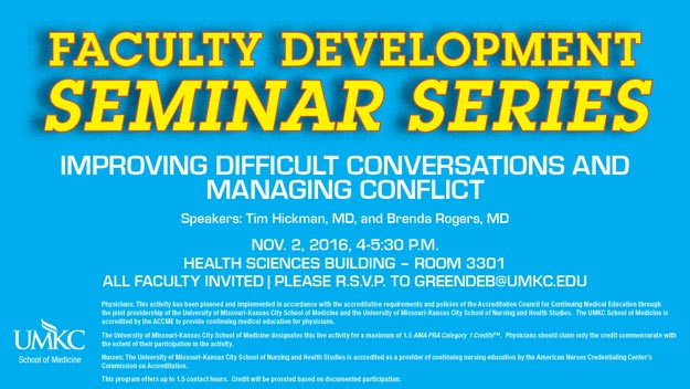 Faculty Development Seminar Series - Nov. 2, 2016 @ Health Sciences Bldg. - Rm. 3301 | Kansas City | Missouri | United States