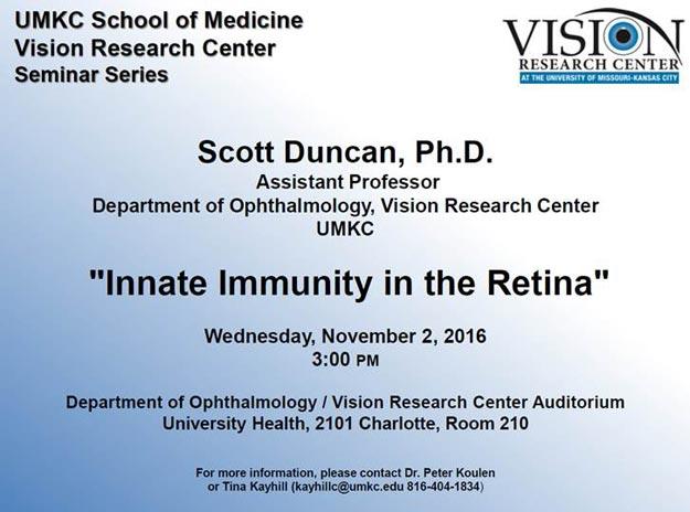 UMKC Vision Research Center Seminar Series: Nov. 2, 2016 @ Vision Research Center Auditorium (University Health - Rm. 210) | Kansas City | Missouri | United States