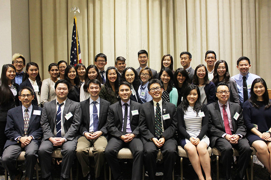 Timothy Chow, front row, second from left, was recently appointed to the national board of the Asian Pacific American Medical Student Association.