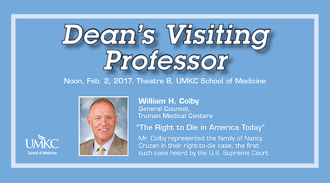 Dean's Visiting Professor Lecture - William H. Colby @ UMKC School of Medicine, Theater B | Kansas City | Missouri | United States
