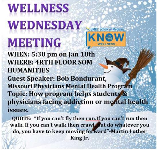 Wellness Wednesday Meeting - Jan. 18, 2017 @ Humanities - 4th Floor