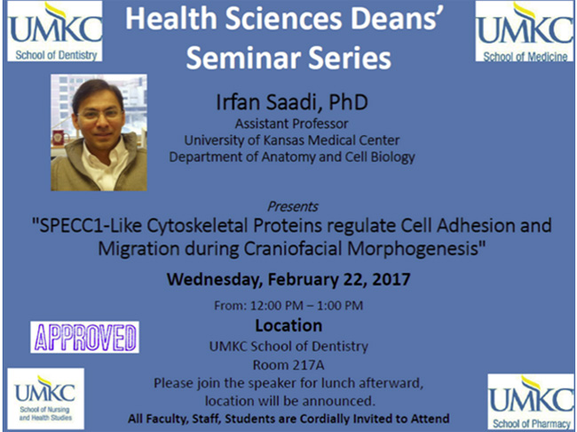 Health Sciences Deans' Seminar Series - Feb. 2017 @ School of Dentistry, Rm. 217A