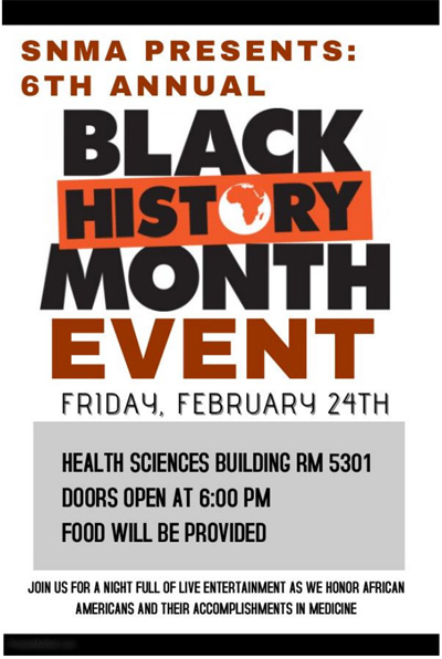 SNMA - Black History Month Event 2017 @ HSB Room 5301
