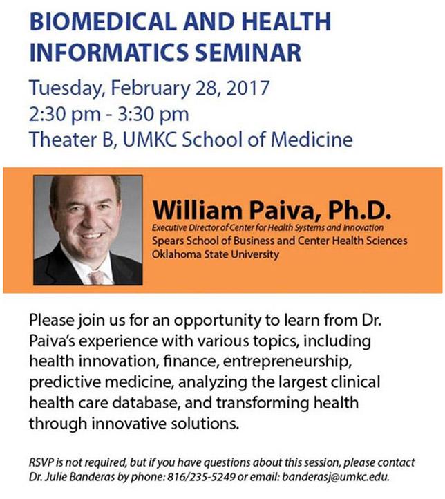 Biomedical and Health Informatics Seminar @ UMKC School of Medicine, Theater B