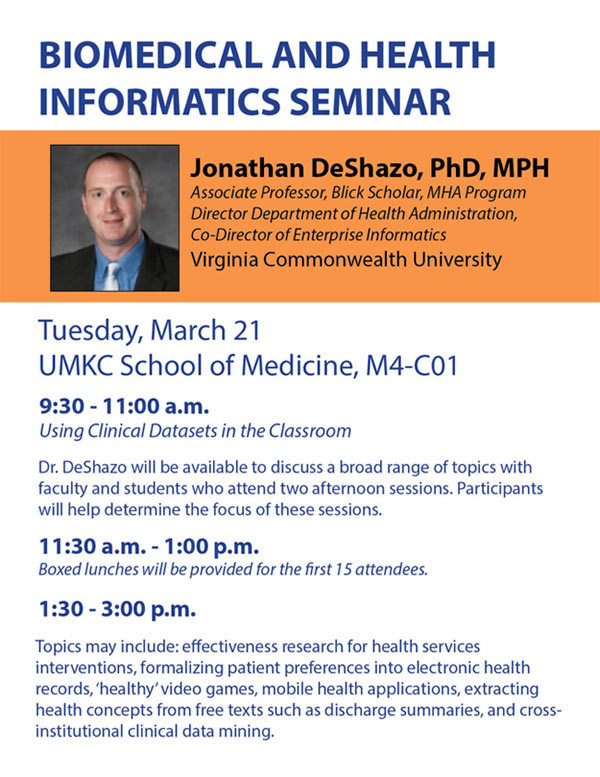 Biomedical and Health Informatics Seminar - March 21st @ UMKC School of Medicine, M4-C01