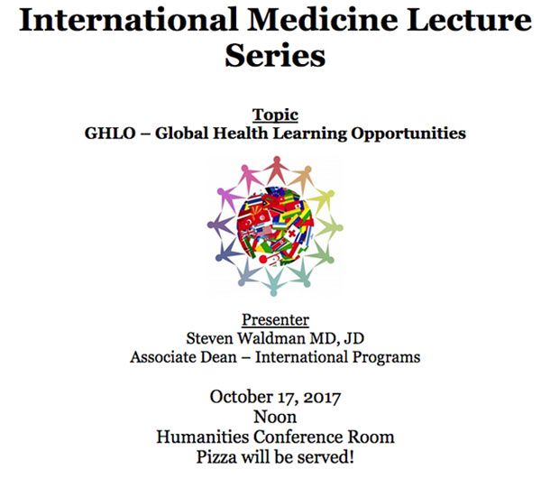 International Medicine Lecture Series - October 2017 @ Humanities Conference Rm. - 4th Floor