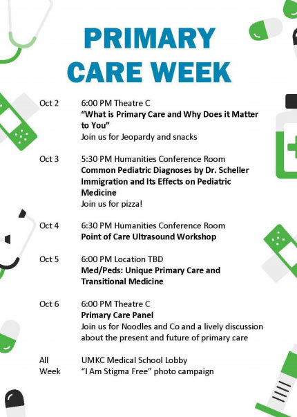 Primary Care Week - Oct. 2-6 @ Please see schedule below for time and venue.
