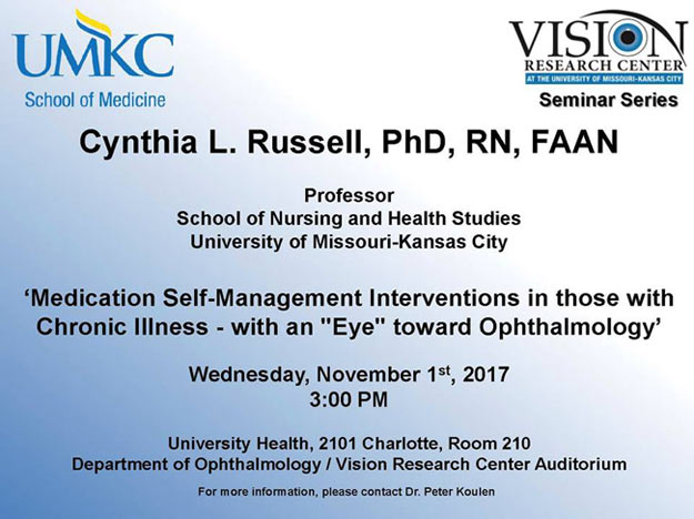 UMKC Vision Research Center Seminar Series – November 2017 @ VRC Auditorium, Rm. 210 (Univ. Health Bldg.) | Kansas City | Missouri | United States