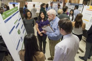 Faculty members judged the student teams' research posters.