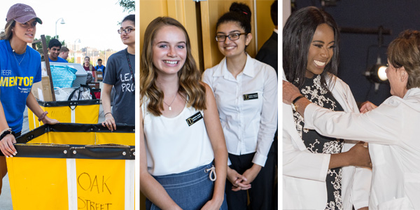 L to R: UMKC Move In day, InDOCtrination Ceremony, White Coat Ceremony