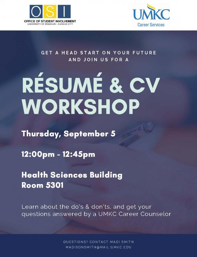 Resume and CV Workshop @ Health Sciences Building, Room 5301