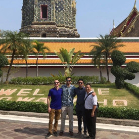 Pictured from L to R (Dr. Jim O'Brien, Deven Bhatia, MS6, Dr. Jesal Amin, and Dr. Inboriboon). A few of our EM residents and EM bound medical student in Thailand on elective. They were able to learn about emergency medicine education abroad while Dr. Inboriboon was in Thailand on a Fulbright.