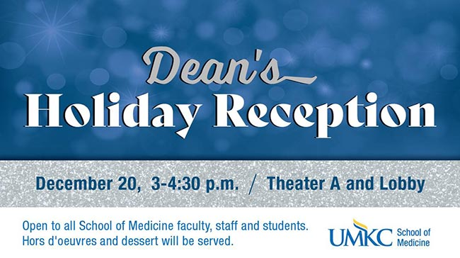 Dean's holiday reception graphic