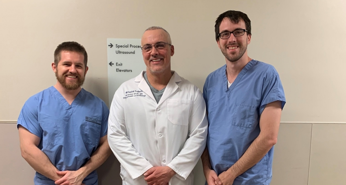 Picture of Dr. Brandon Stroh with Jacob Fleecs, MD and Junior Chief Resident David Skelton, MD